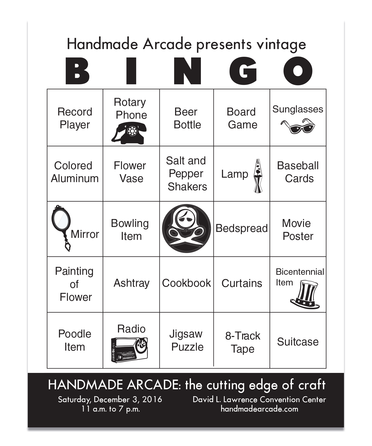 Vintage Bingo Cards created for Pittsburgh Vintage Mixer
