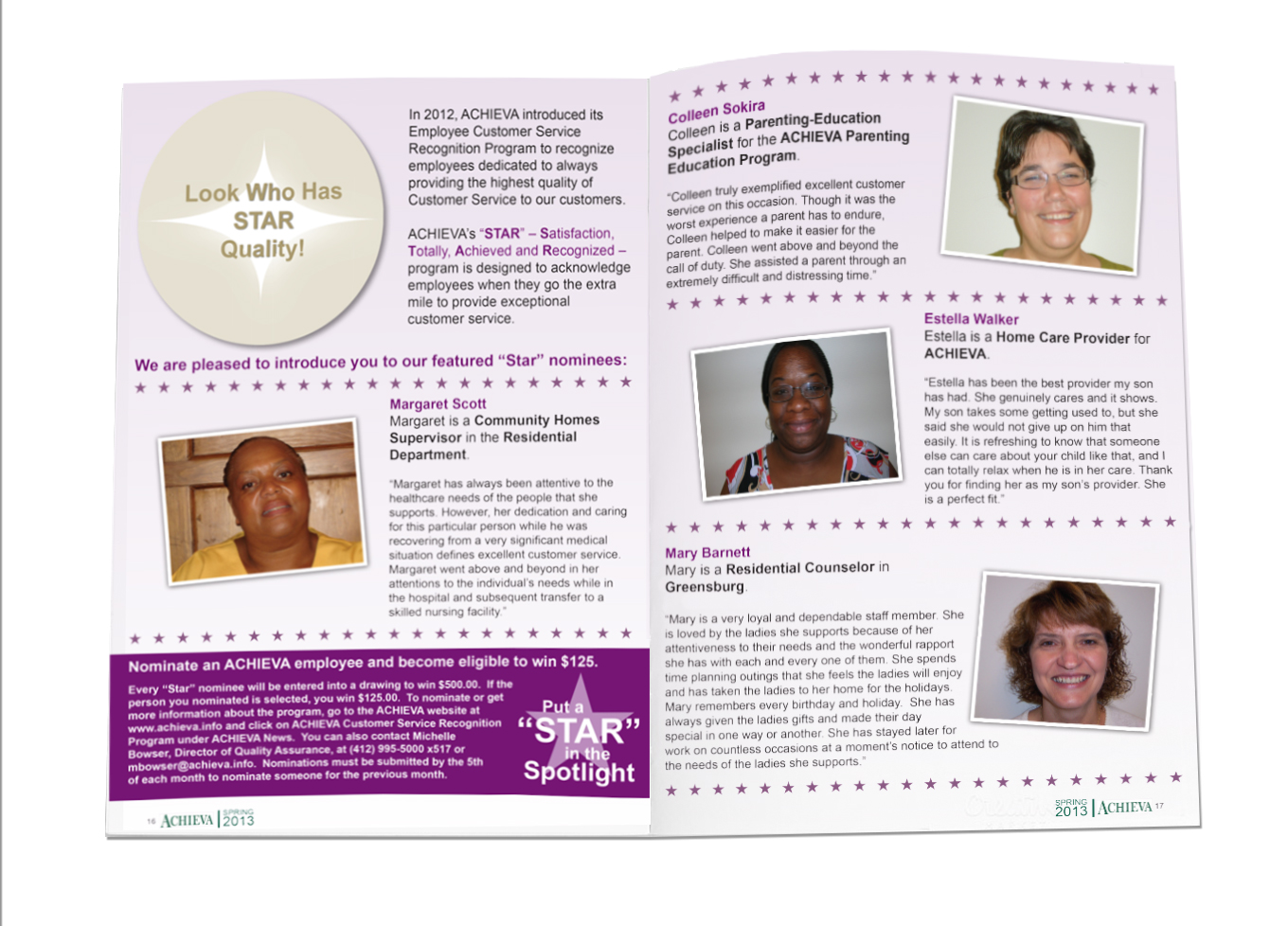 2013 Spring Newsletter Sample Spread 1