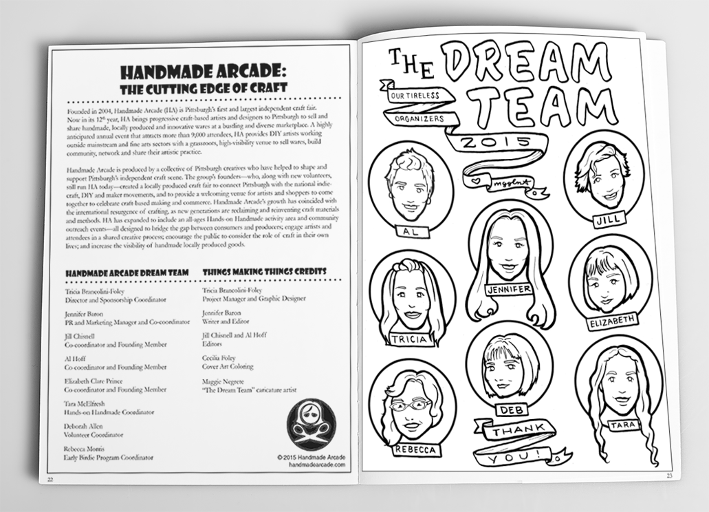 Sample Spread 2 (Caricatures drawn by Maggie Negrete)