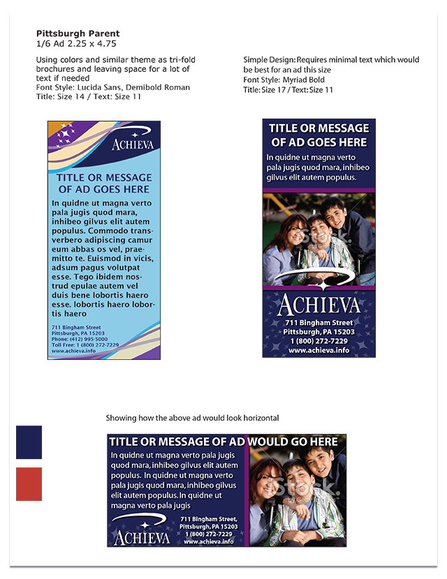Sample Ads for Pittsburgh Parent Magazine