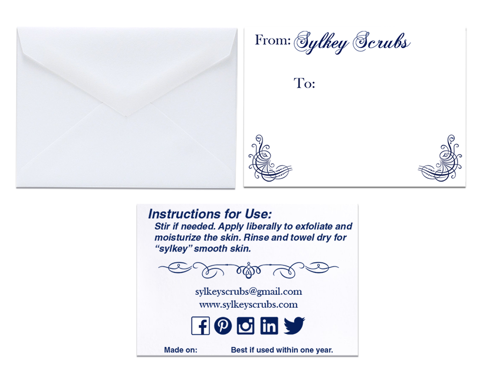 Front and back of gift envelop and insert card